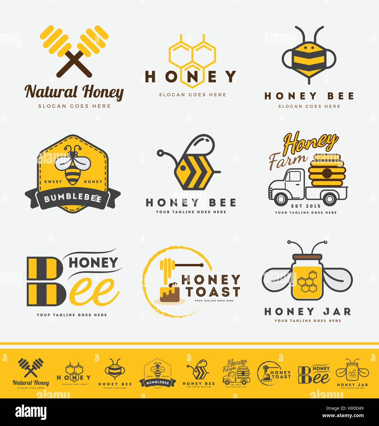 Set of honey bee logo and labels for honey products. Abstract bee and honey logo symbols. Vector illustration - Stock Vector