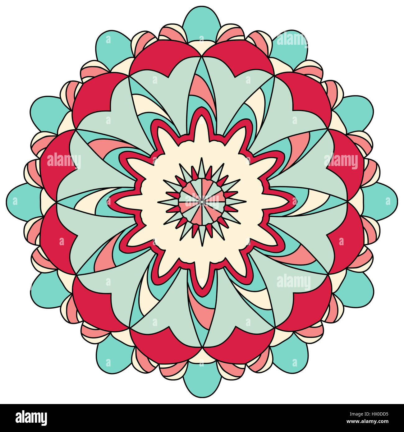 Red and blue mandala illustration, colored line drawing - Stock Image