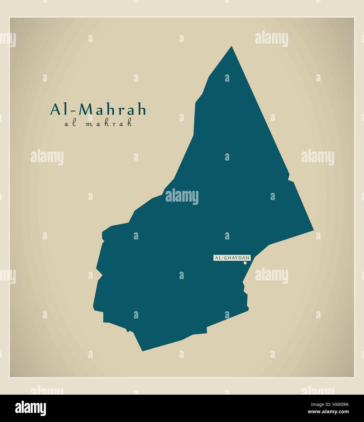 Modern Map - Al Mahrah YE - Stock Vector