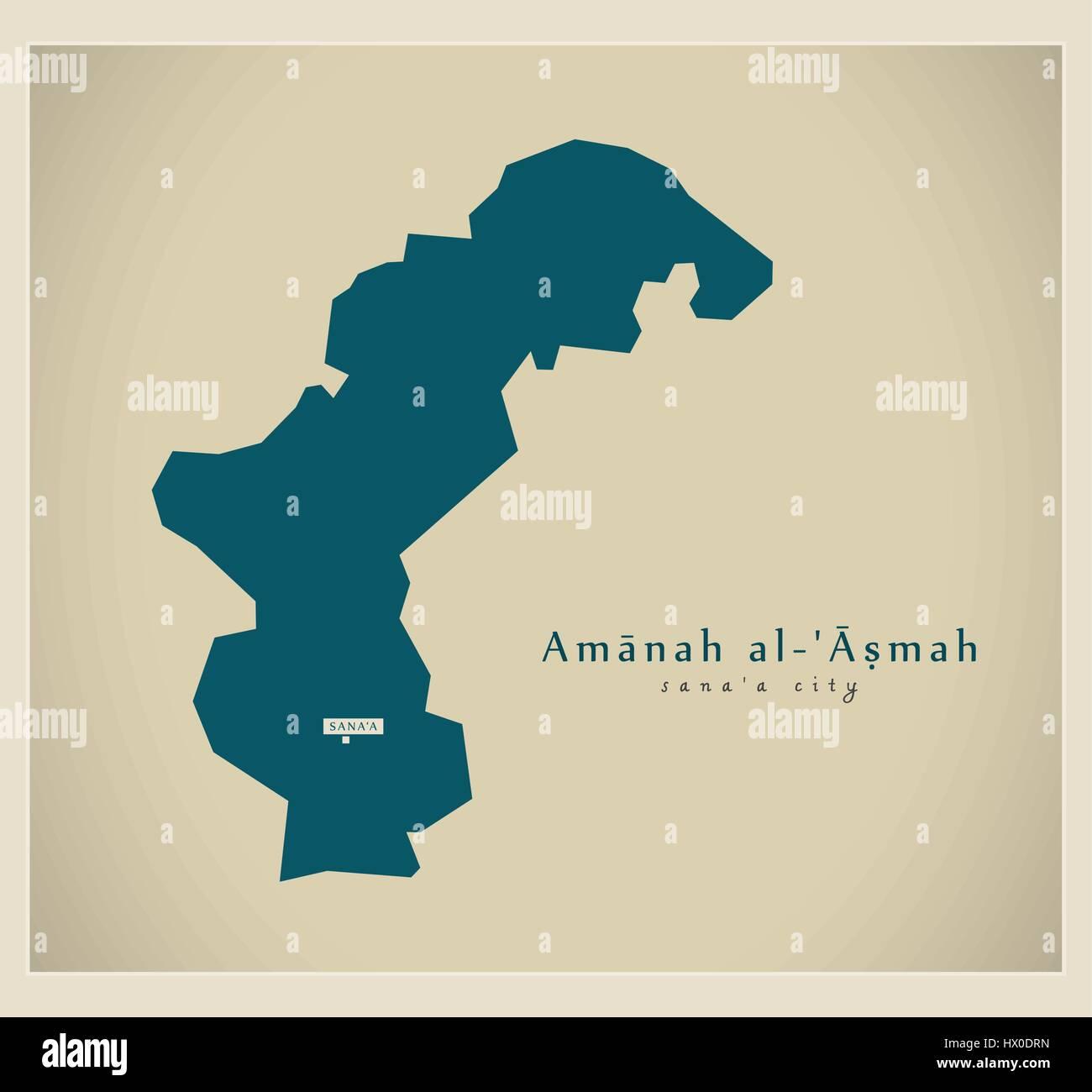 Modern Map - Amanah al Asmah YE - Stock Vector
