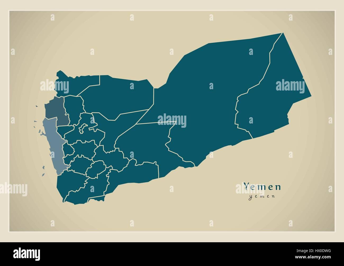Modern Map - Yemen with governorates YE - Stock Vector