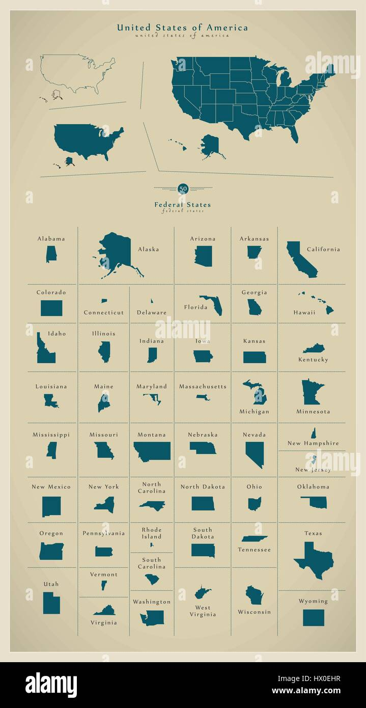 Modern BIG Map - United States of America with federal ...