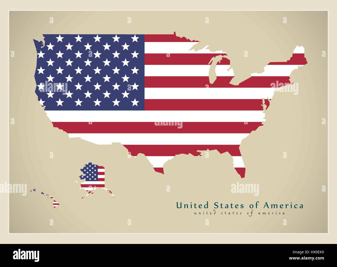 Modern Map - United States of America flag colored USA Stock Vector ...
