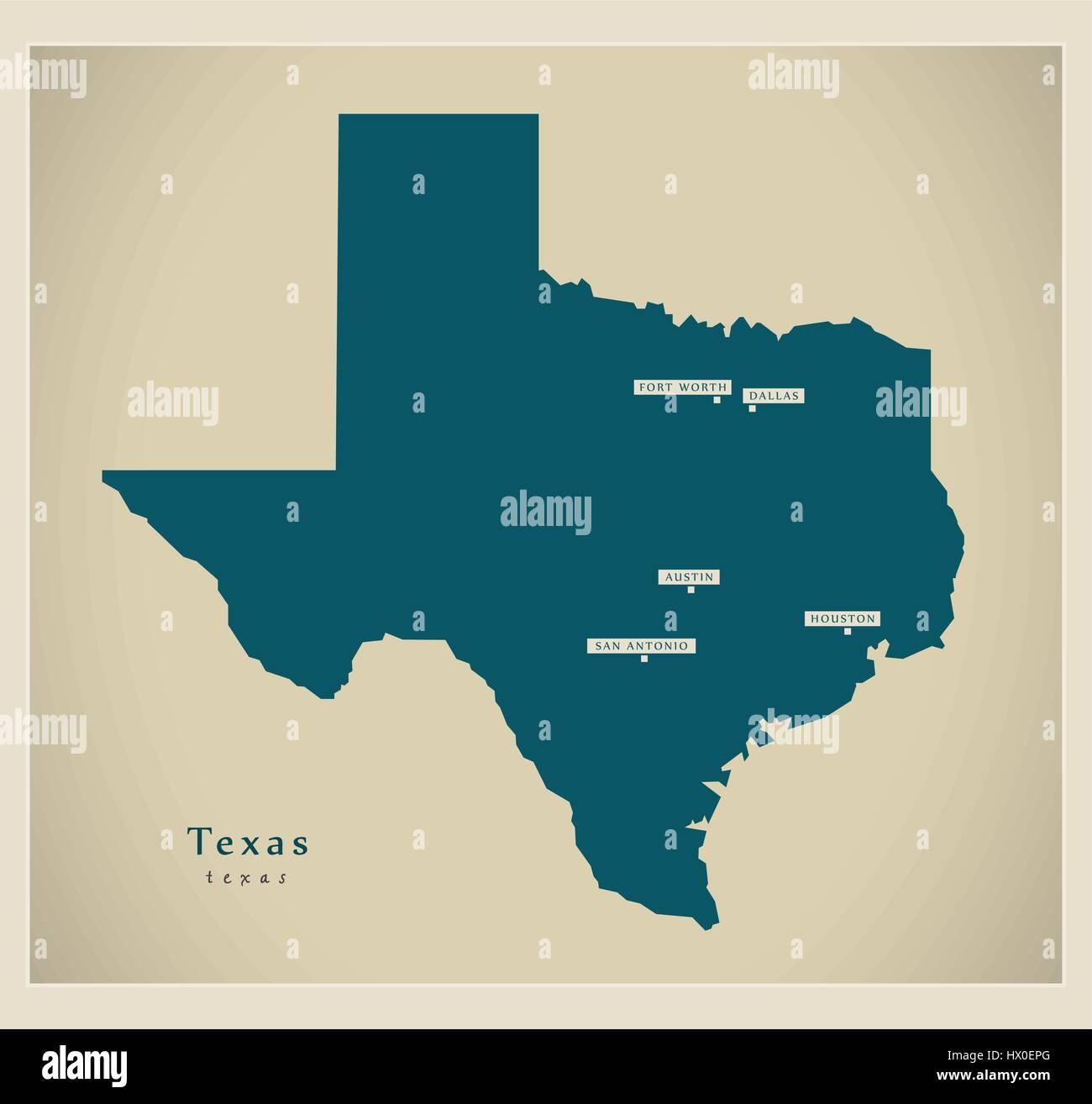 Modern Map Texas Usa Stock Vector Art Illustration Vector Image