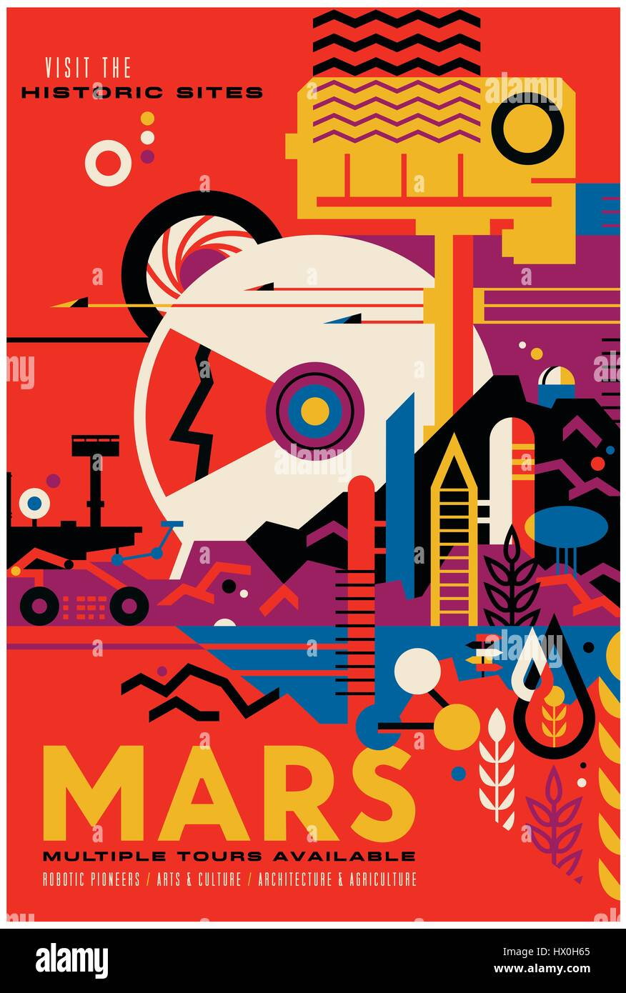 """""""Visit the Historic Sites - MARS Multiple Tours Available"""" Imaginary Travel poster released by The Studio at NASA's - Stock Image"""