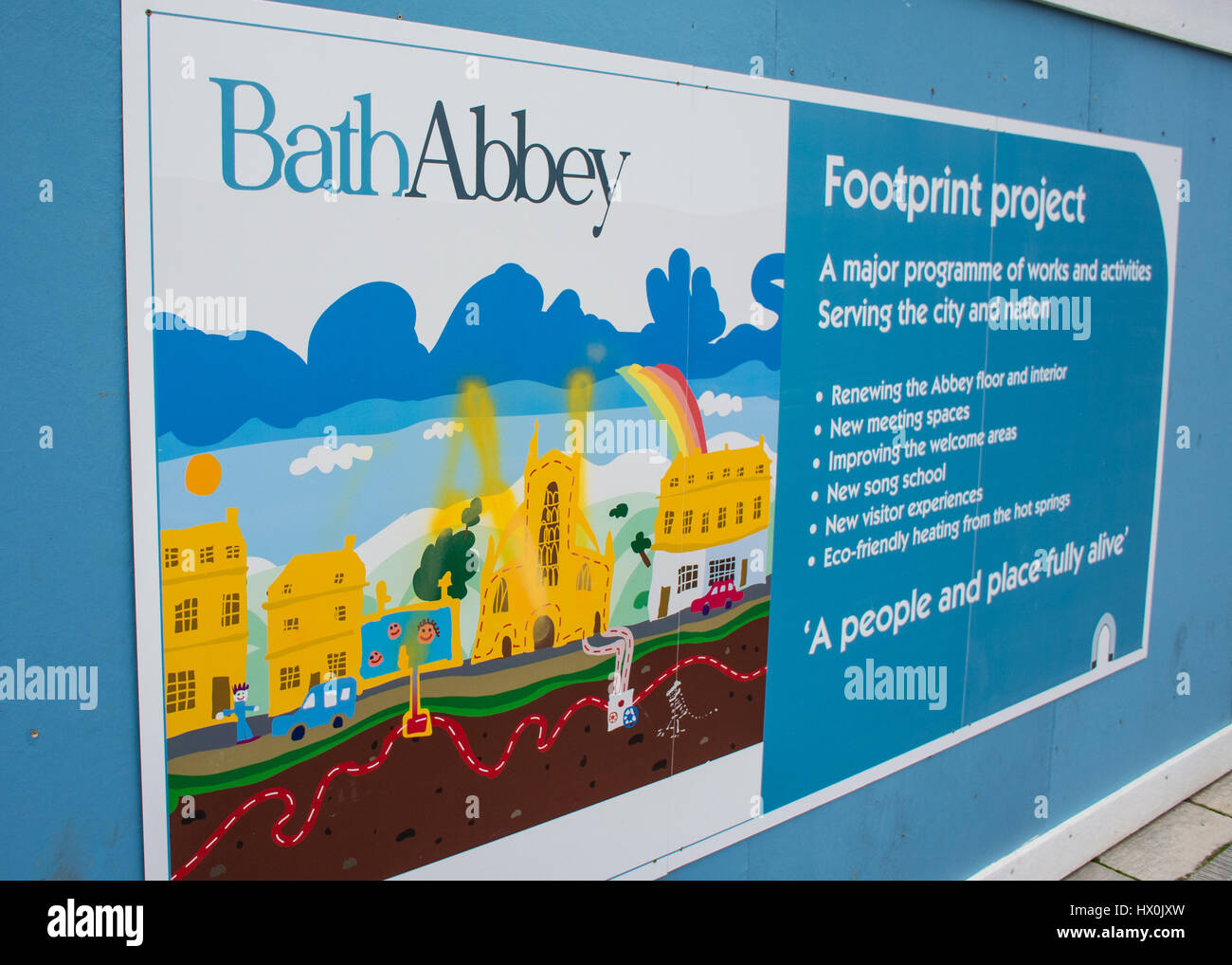 Bath Abbey sign Bath Somerset England UK - Stock Image