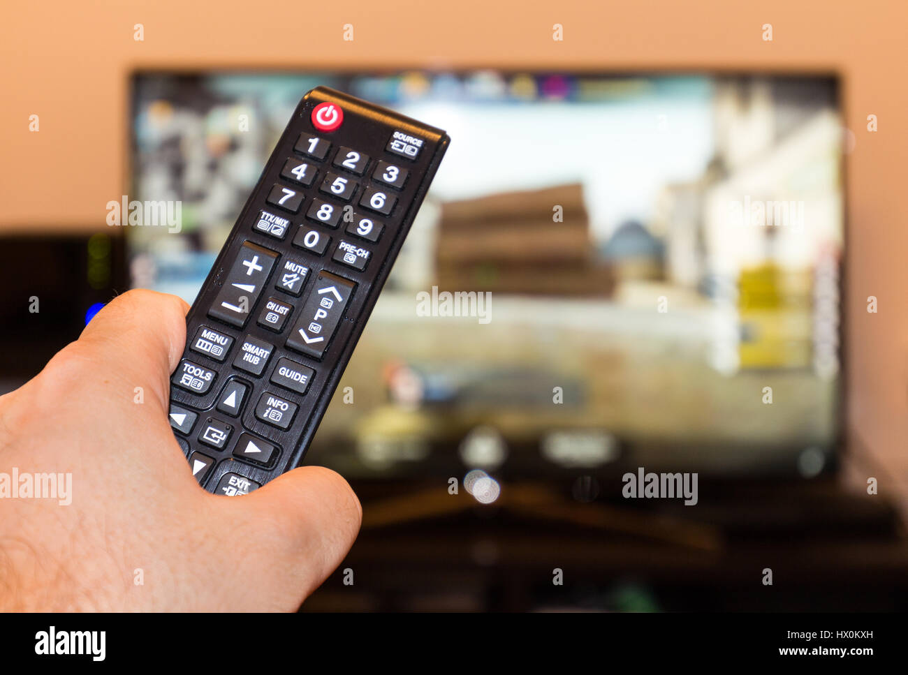 Counter-strike professional game on tv and remote control Stock Photo