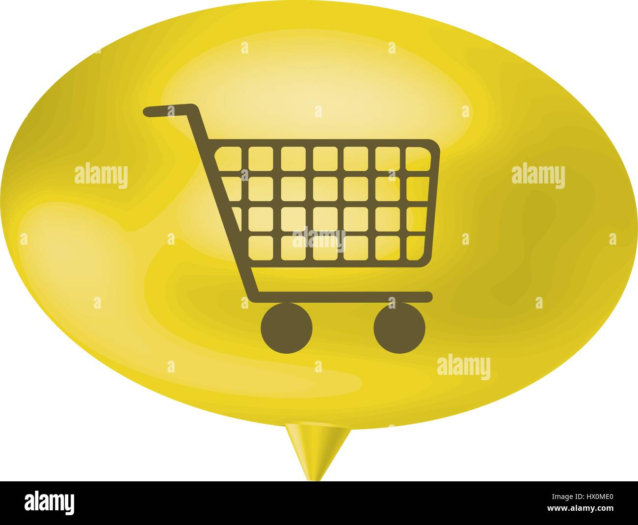 yellow bubble shopping car icon - Stock Vector