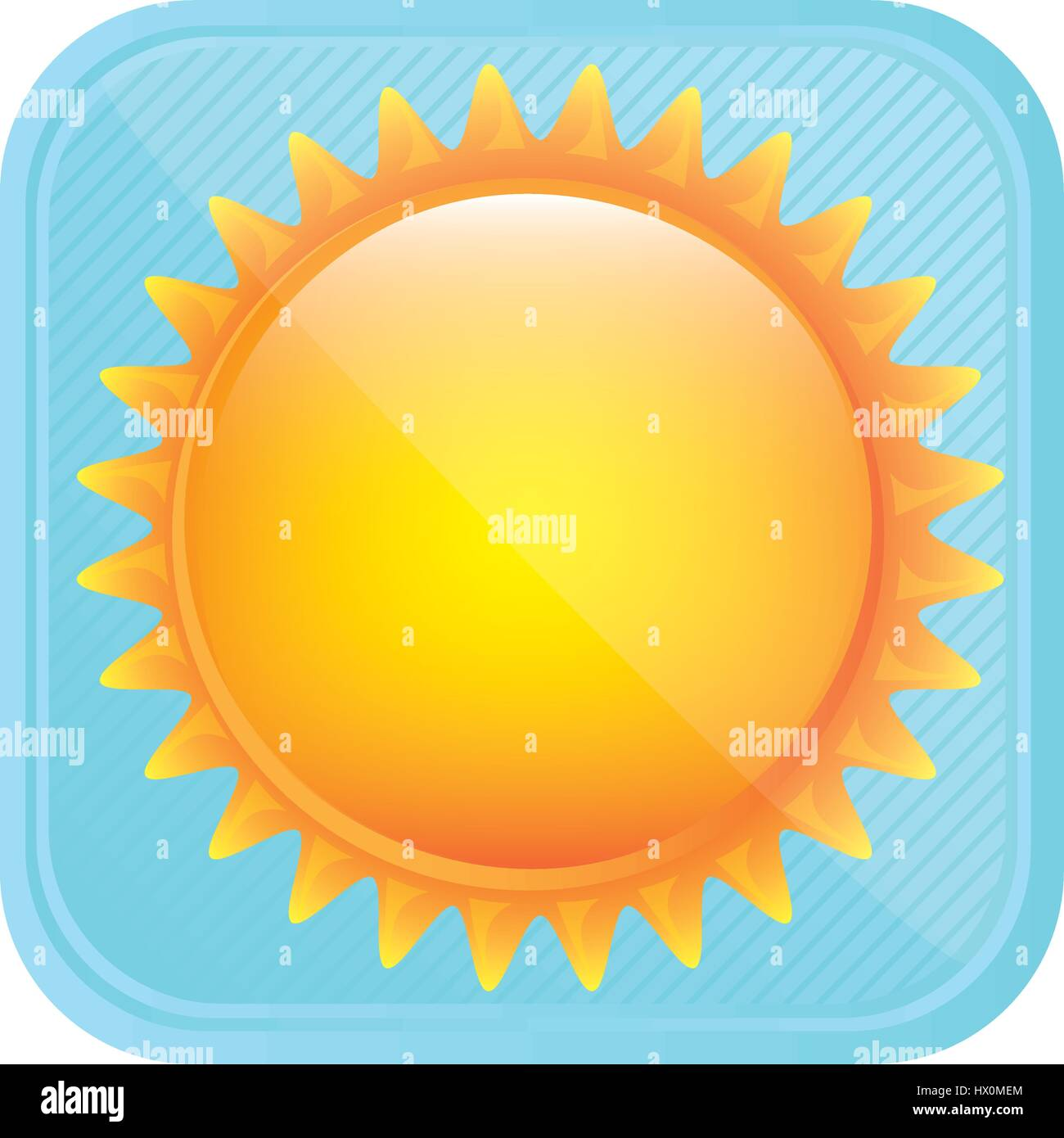 yellow light sun icon - Stock Image