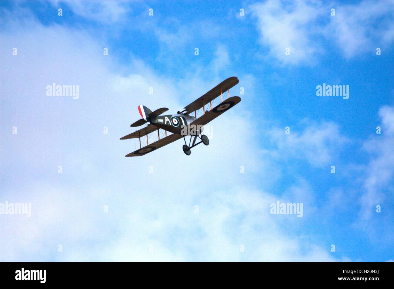 Sopwith 7F.1 Snipe in flight against blue sky at the Avalon airshow, Australia, 2017. - Stock Image