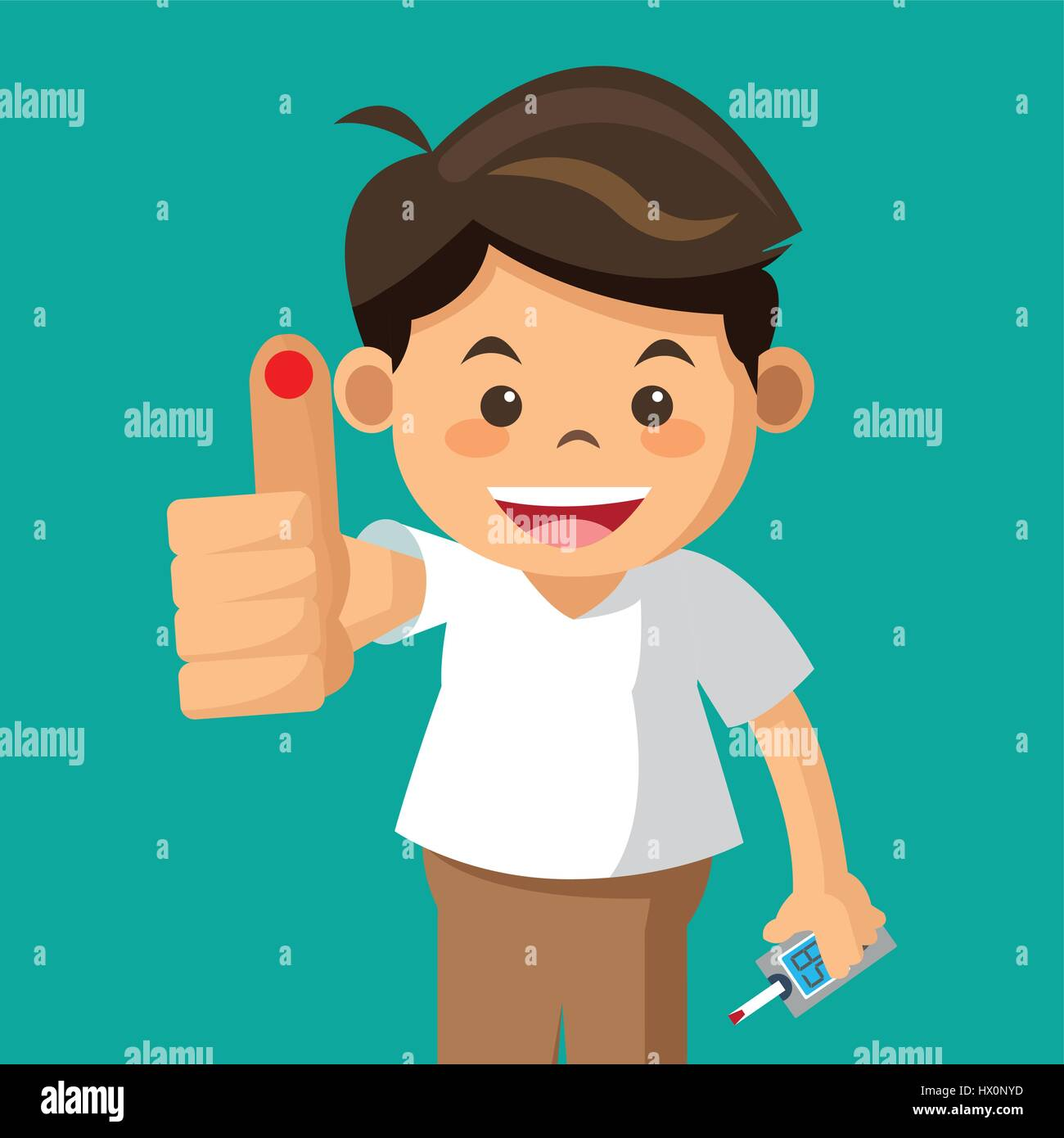 boy diabetes drop test - Stock Image