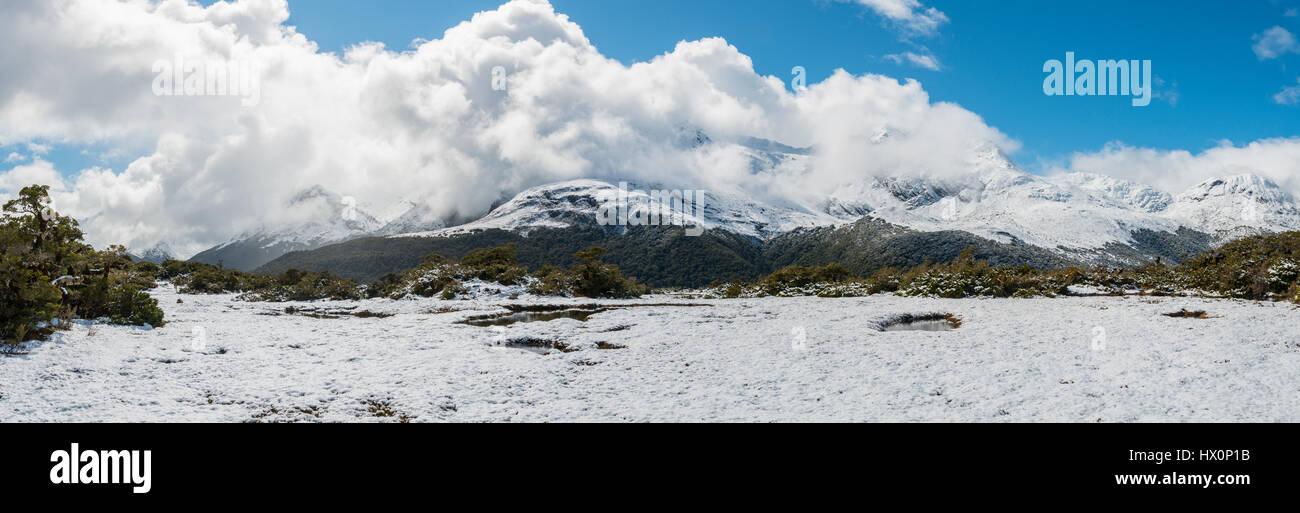 Mountain landscape at the summit of Key Summit, Fiordland National Park, West Coast, Southland, New Zealand - Stock Image