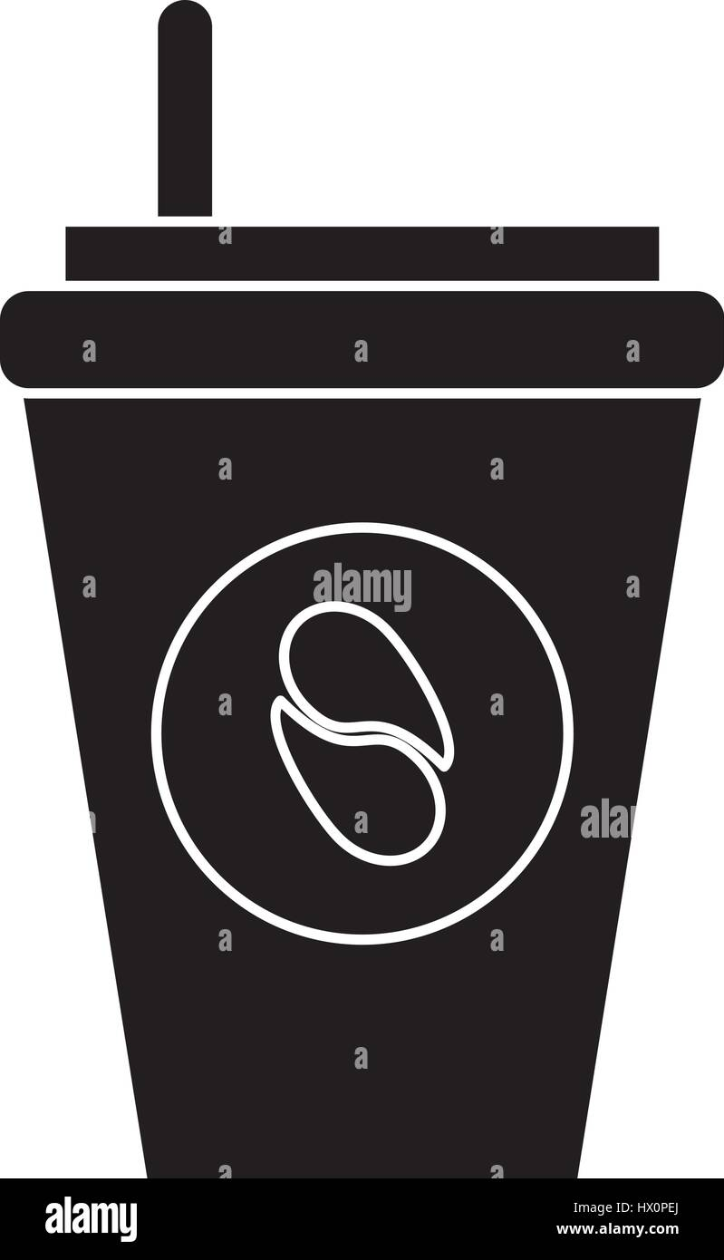 paper cup coffee to go pictogram - Stock Image