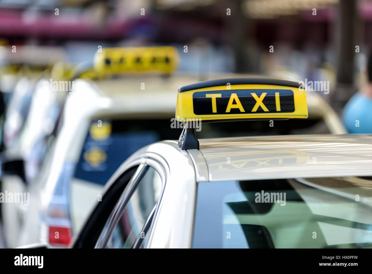 waiting taxis - Stock Image