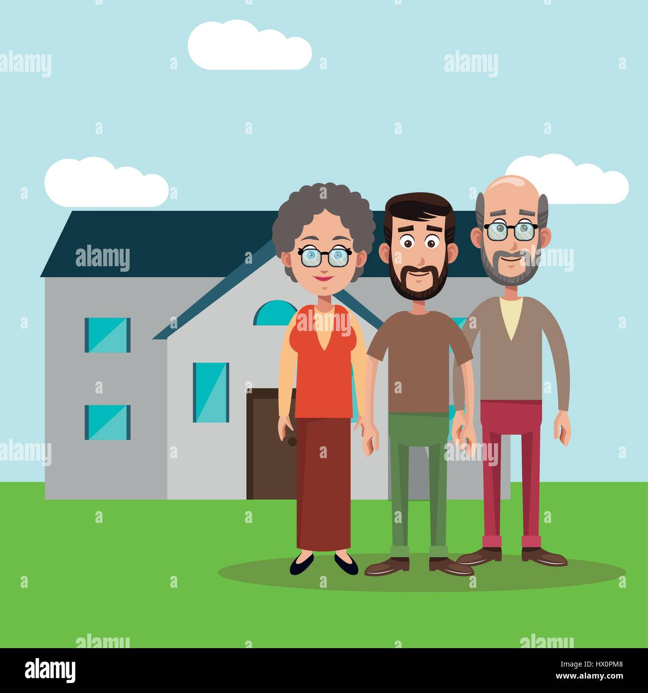 family members house image - Stock Vector