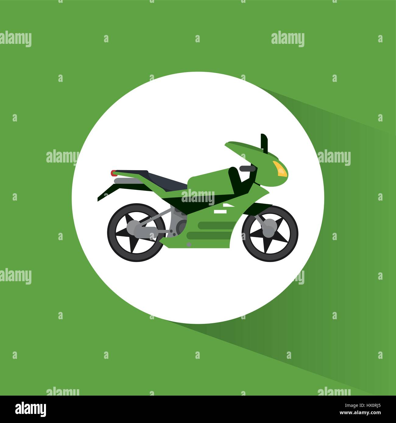 green motorcycle transport vehicle image - Stock Image