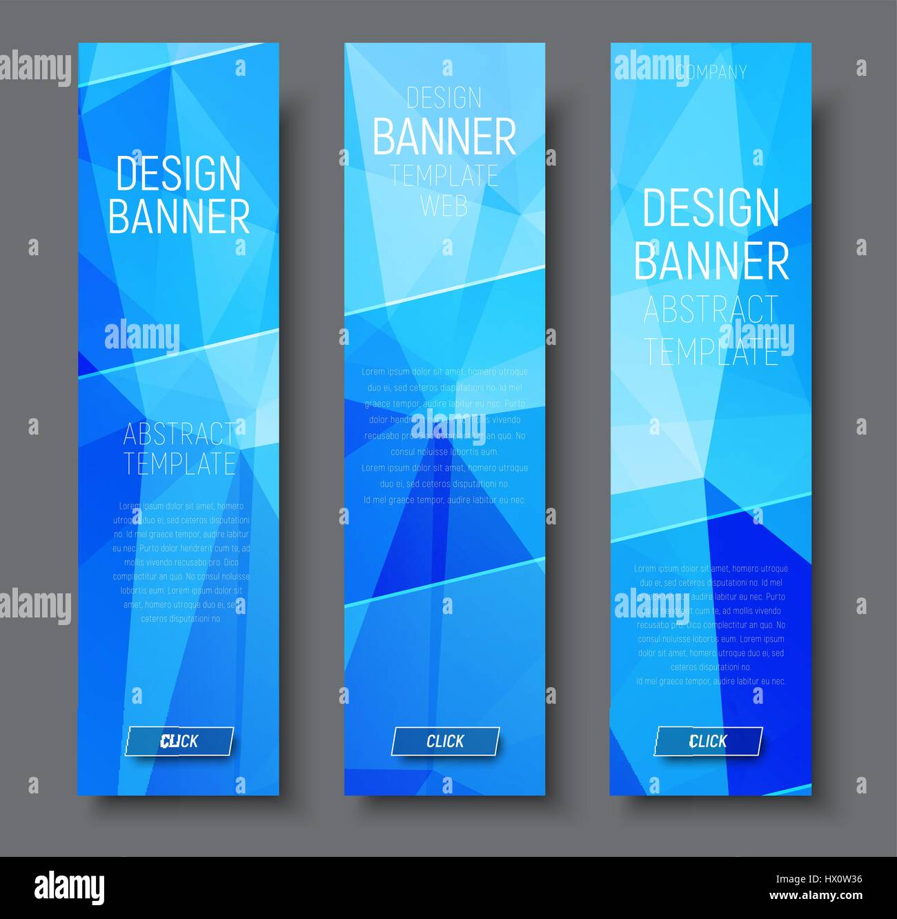 design vertical banners with abstract blue polygonal