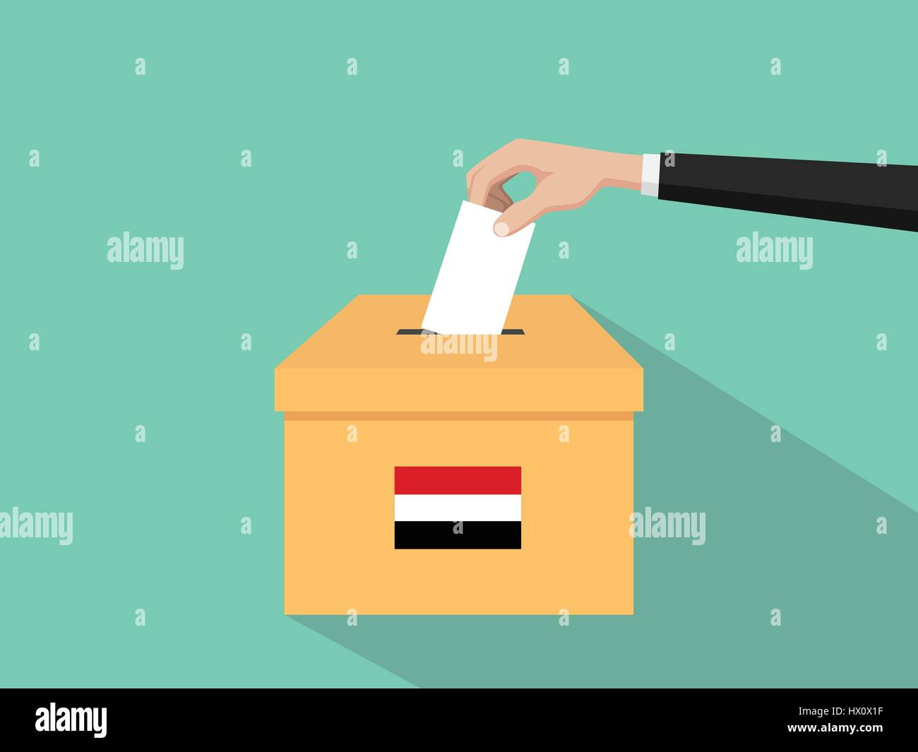 yemen vote election concept illustration with people voter hand gives votes insert to boxes election with long shadow Stock Vector