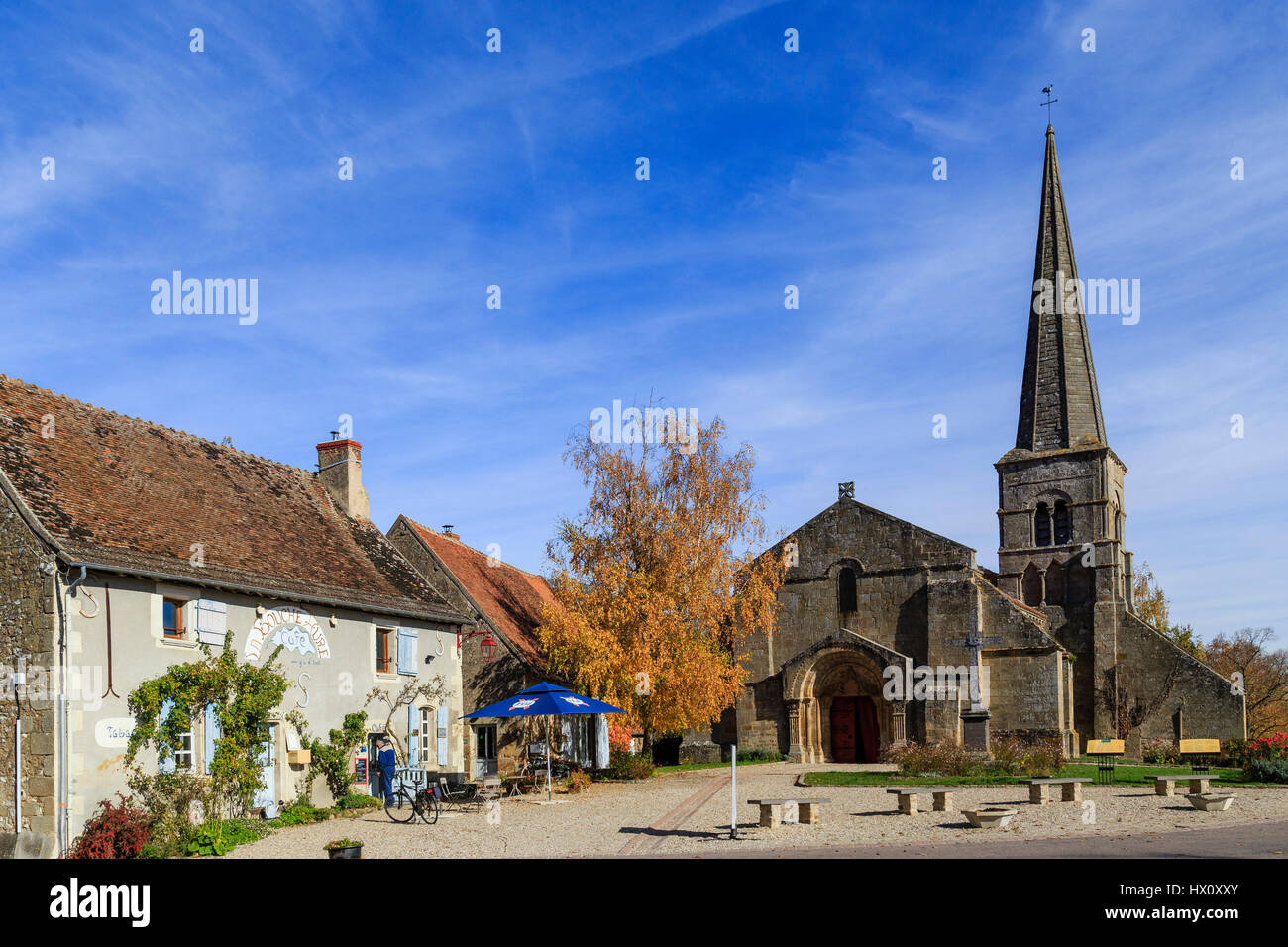 France, Allier, Autry-Issards, church and Cafe on the little square - Stock Image