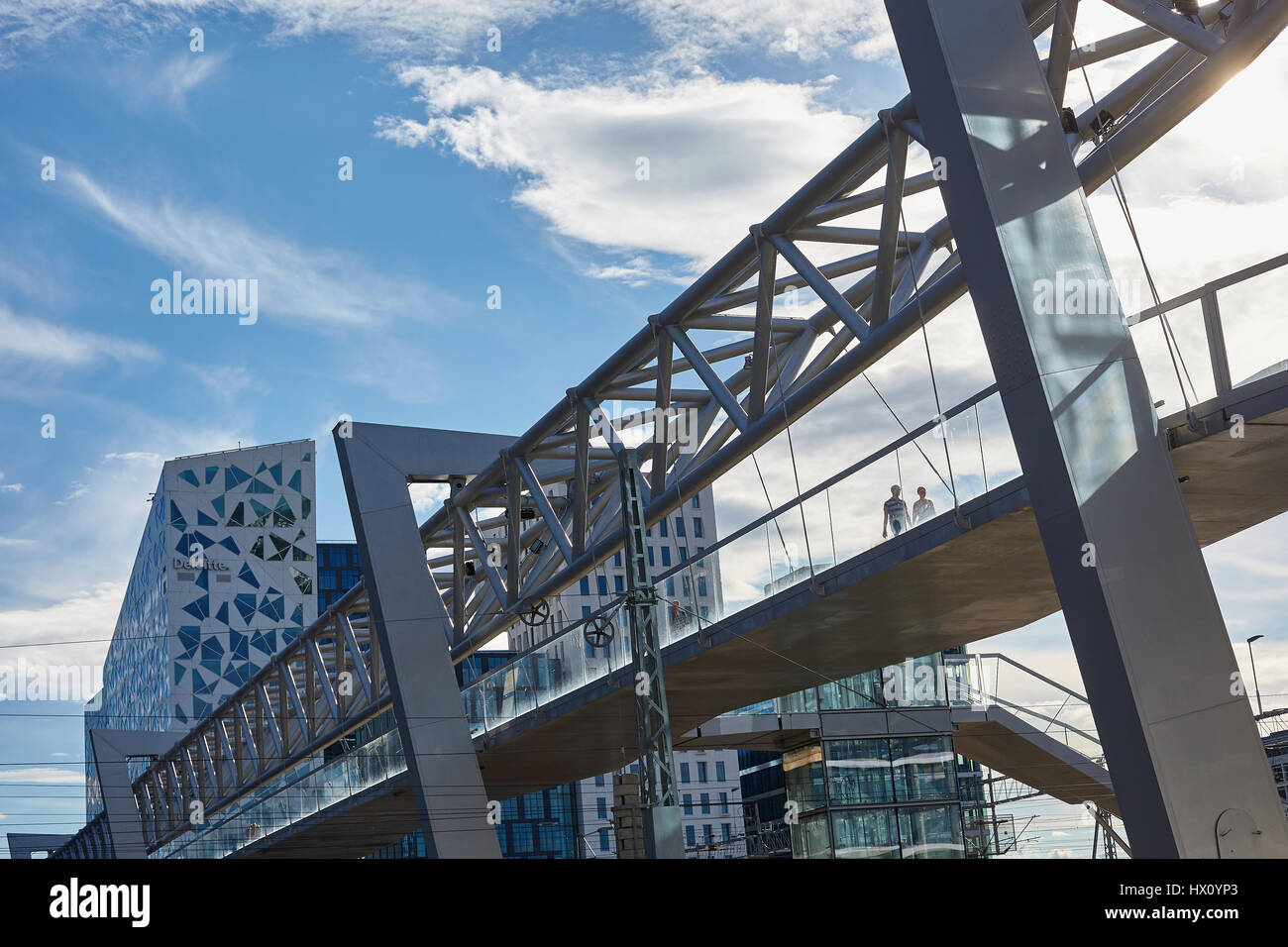 Akrobaten ('the acrobat') is a pedestrian bridge that stretches across the tracks of Oslo Central Station, - Stock Image