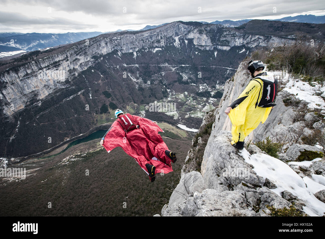 Base-jumping in the mountains - Stock Image