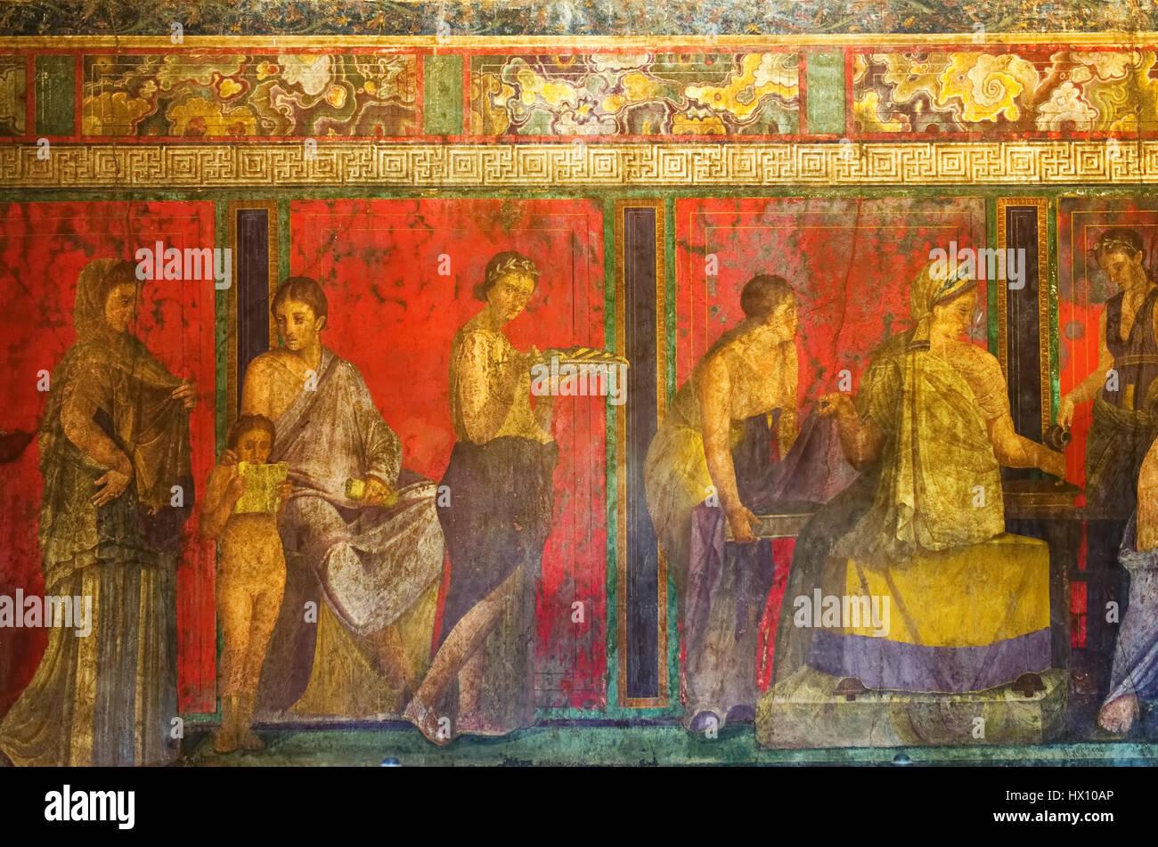 Fresco from Pompeii's Villa of Mysteries. - Stock Image
