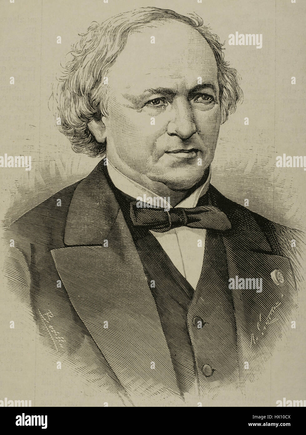 Jean Baptiste Andre Dumas (1800-1884). French chemist. Portrait. Engraving by Arturo Carretero. 'La Ilustracion - Stock Image
