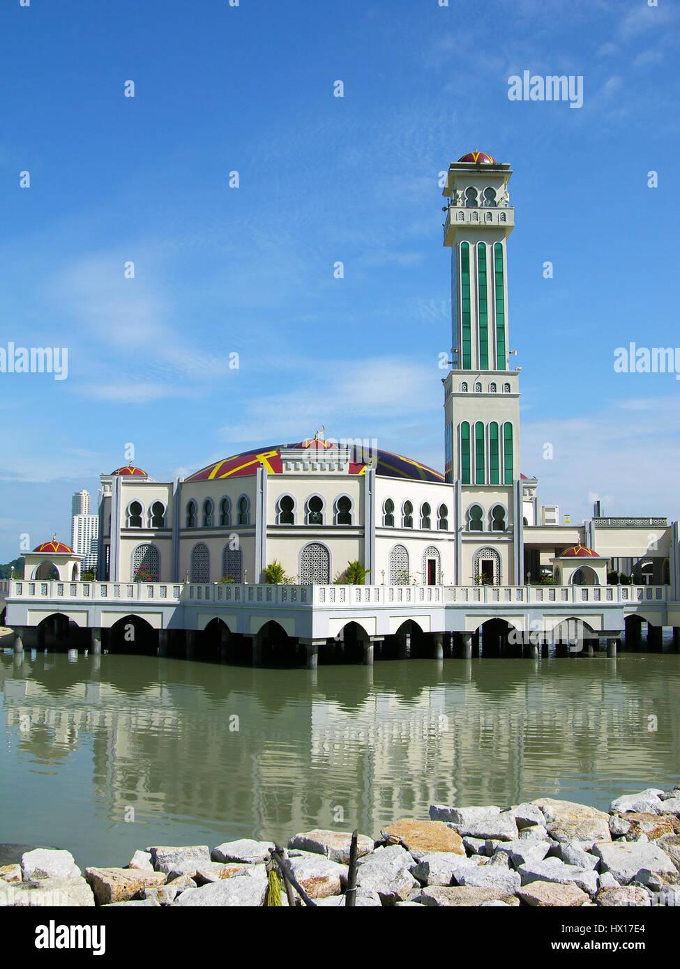 Floating Mosque of Tanjung Bungah, Penang island, Malaysia - Stock Image