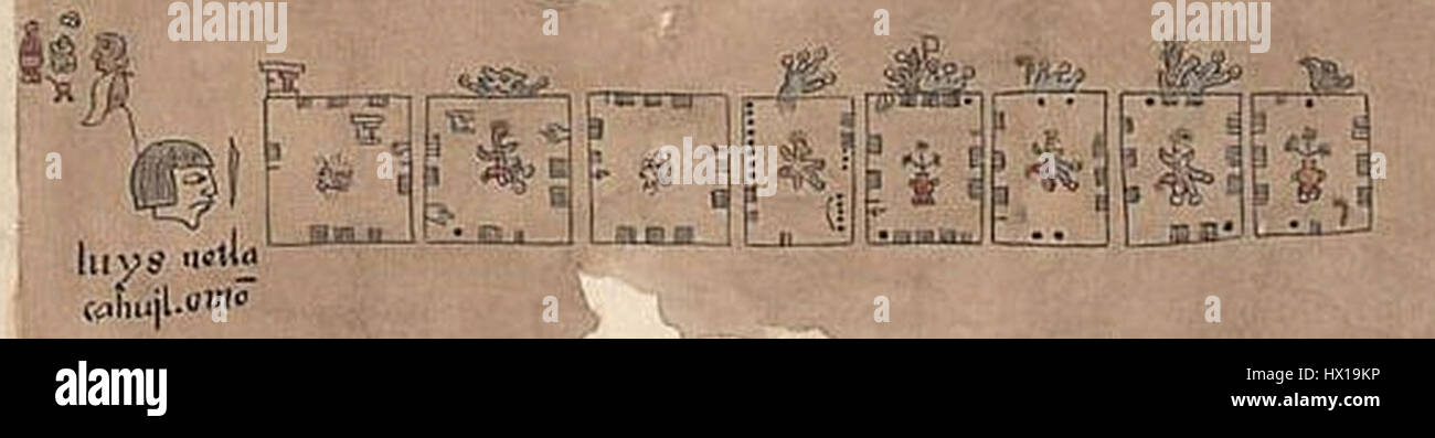 Edaphologycal Aztec glyphs Aztec Metric System Codex Humboldt detail Fragment VIII 1500 1600 - Stock Image