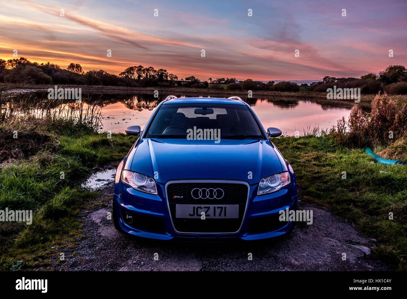 Audi RS4 Sprint Blue Avant - Stock Image