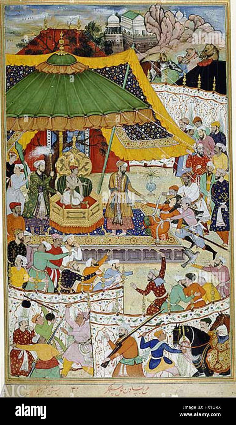 Court of Akbar from Akbarnama - Stock Image