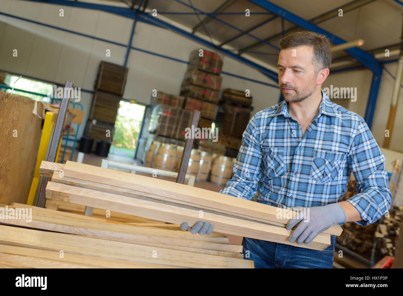 woodworking materials in the workshop - Stock Image