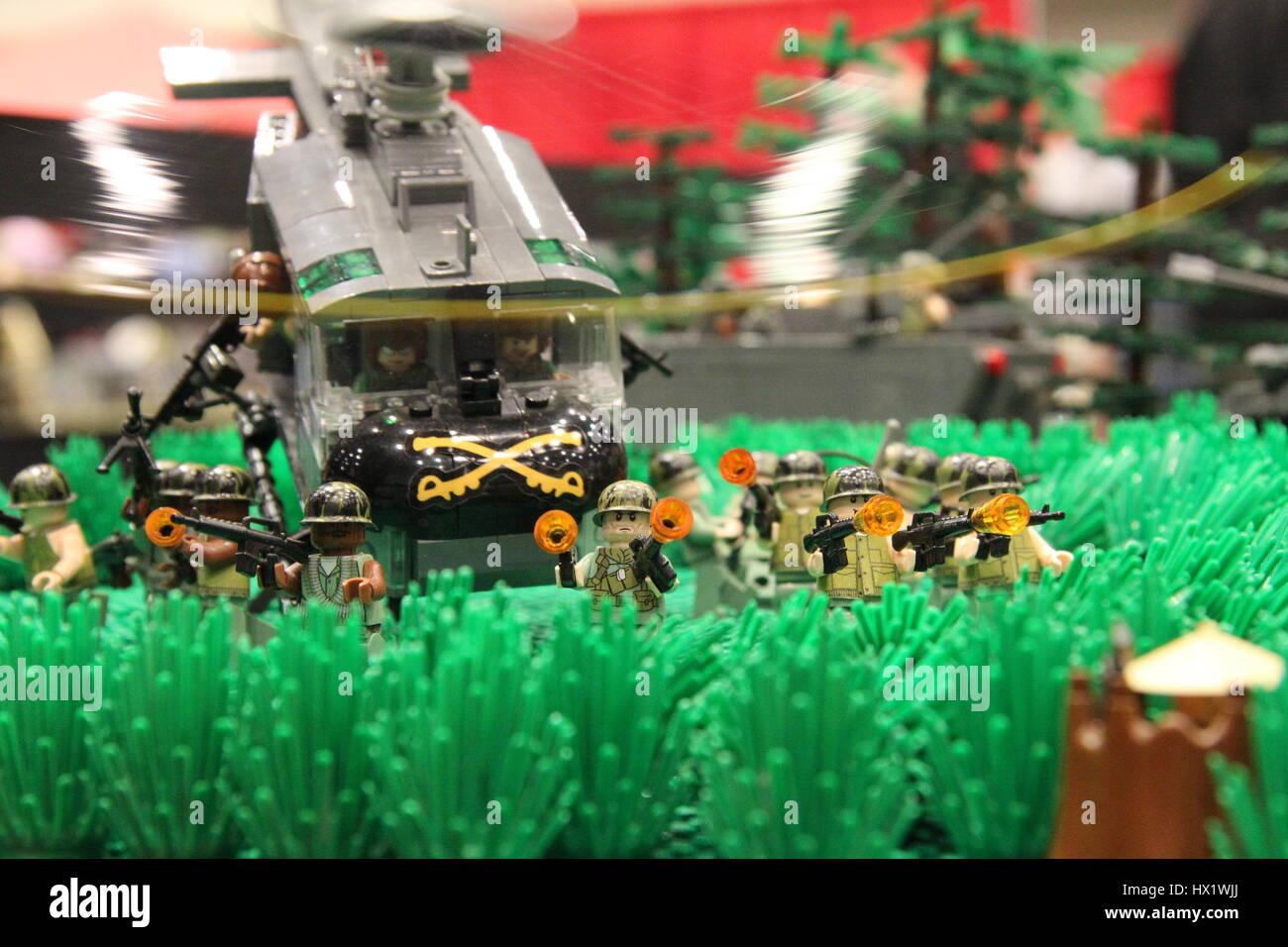 Lego Mini figures at Lego Convention - Stock Image