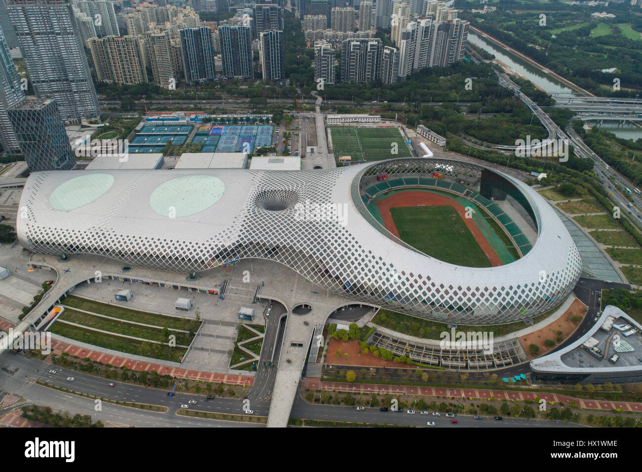 Shenzhen Bay Sports Center, with a capacity for 20,000 spectators, hosted the 2011 Summer Universiade. Located in - Stock Image