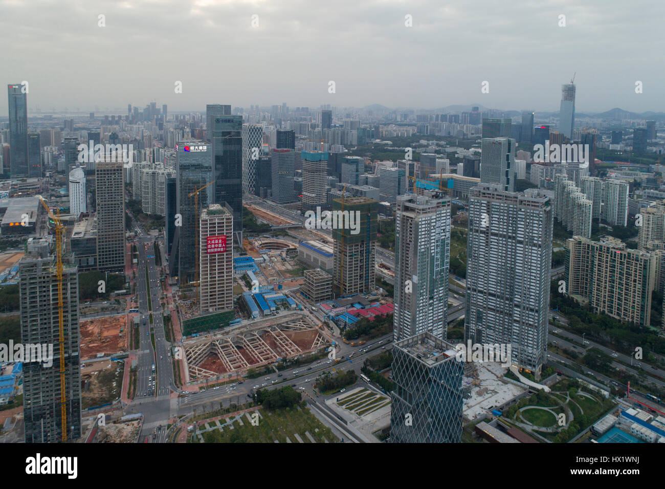 Aerial view looking out over Houhai and  the southern Nanshan district, an up and coming financial and tech area. - Stock Image