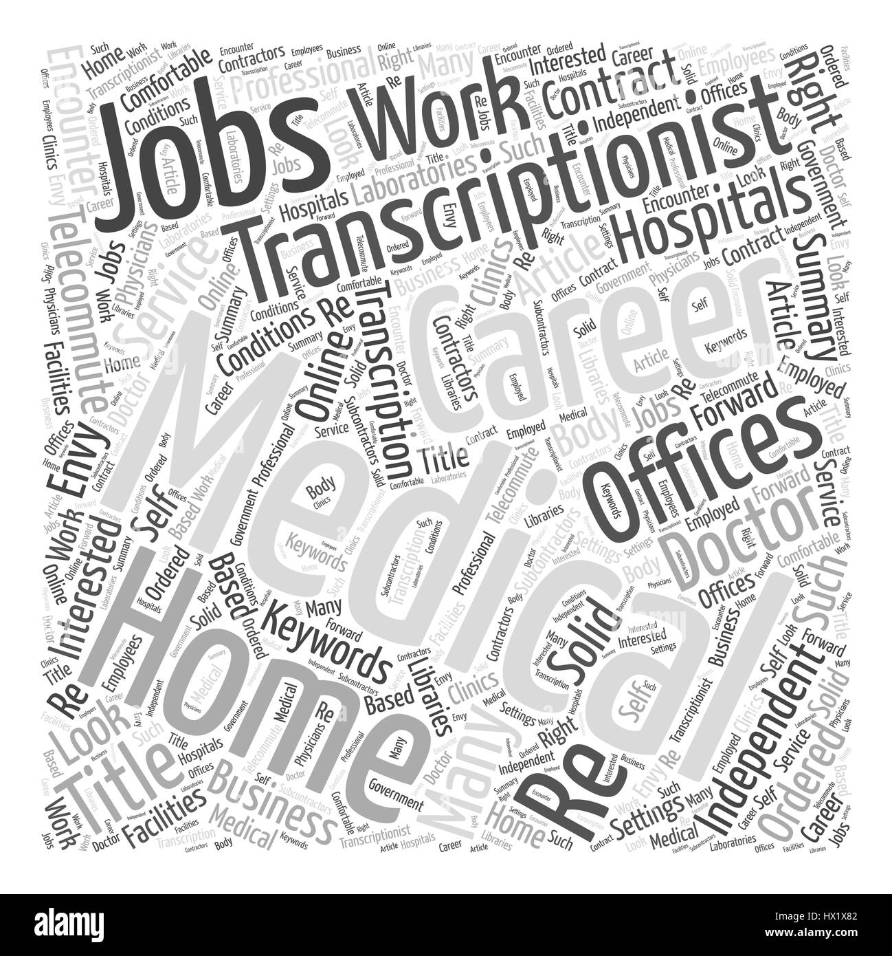 A Medical Transcriptionist Career Could Be Just What The Doctor Ordered Word Cloud Concept - Stock Image
