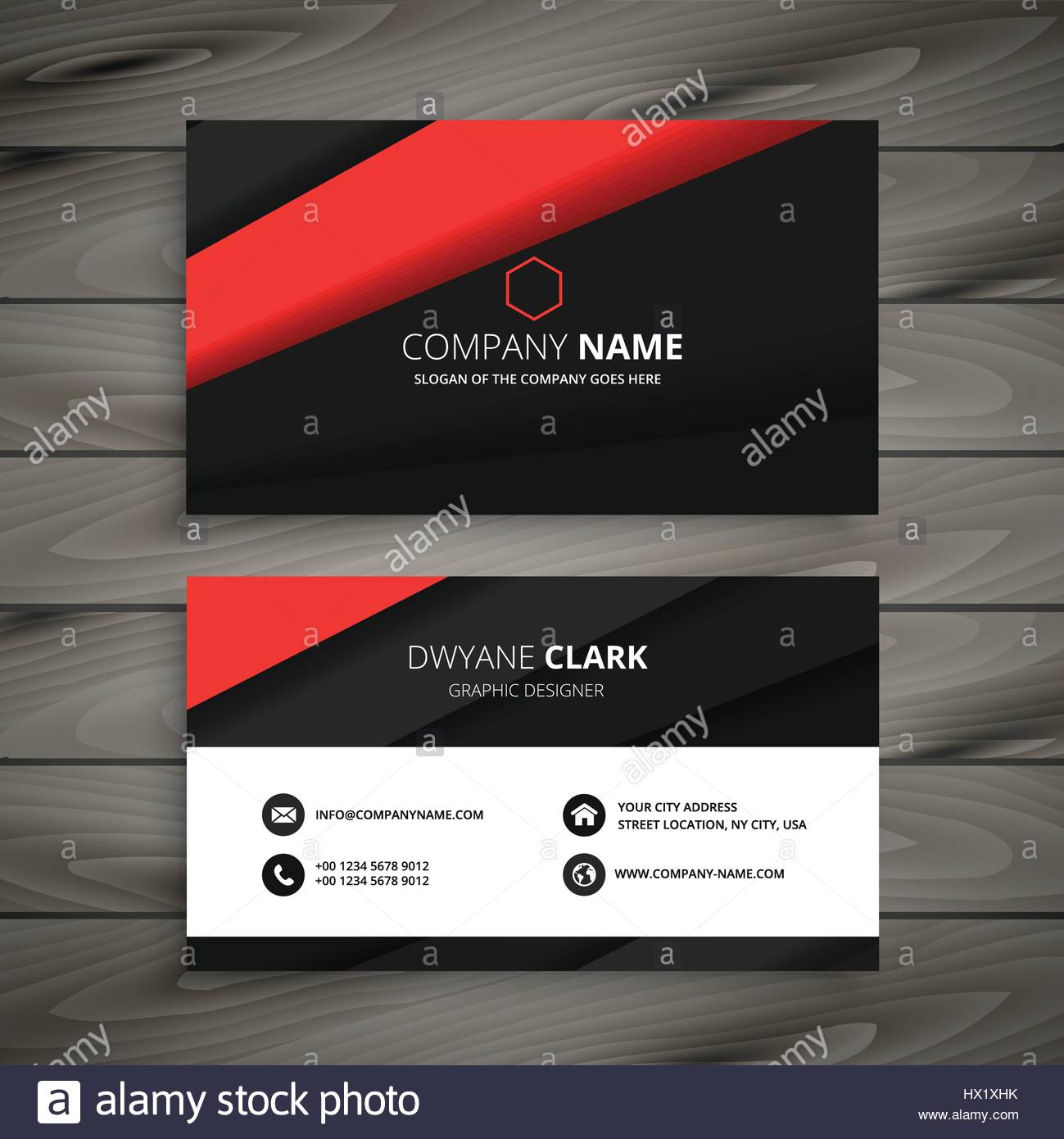 minimal red black business card template vector design illustration ...