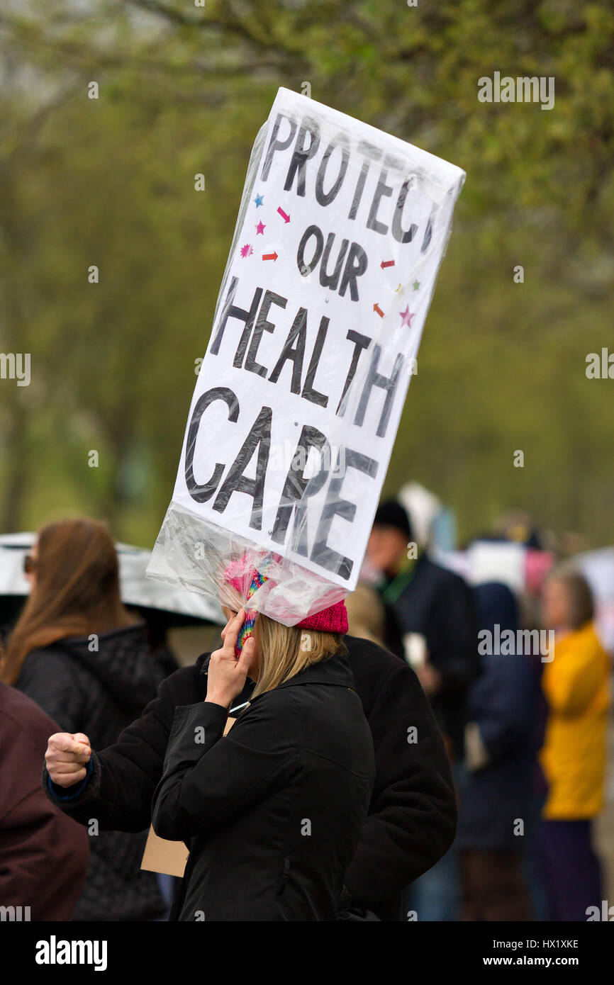 On March 21st protesters in Roseville, California USA stage a peaceful anti-President Trump rally against the new Stock Photo