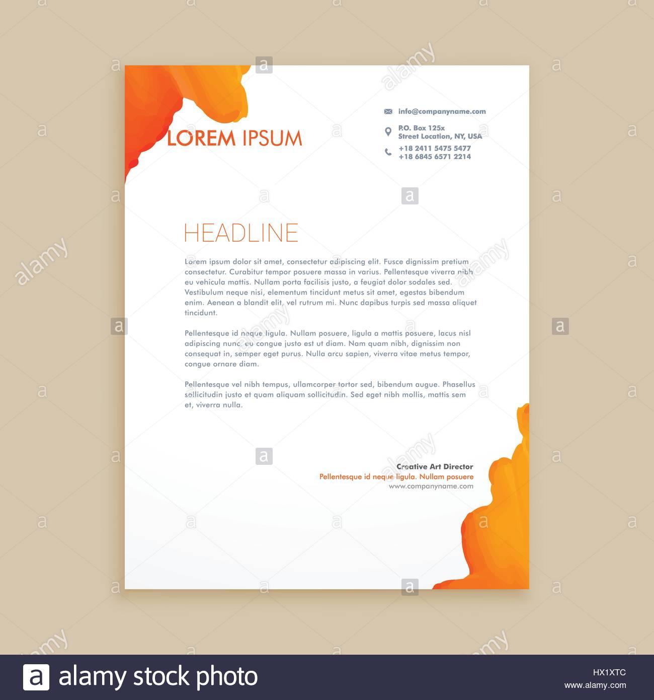 creative ink design letterhead template vector design illustration