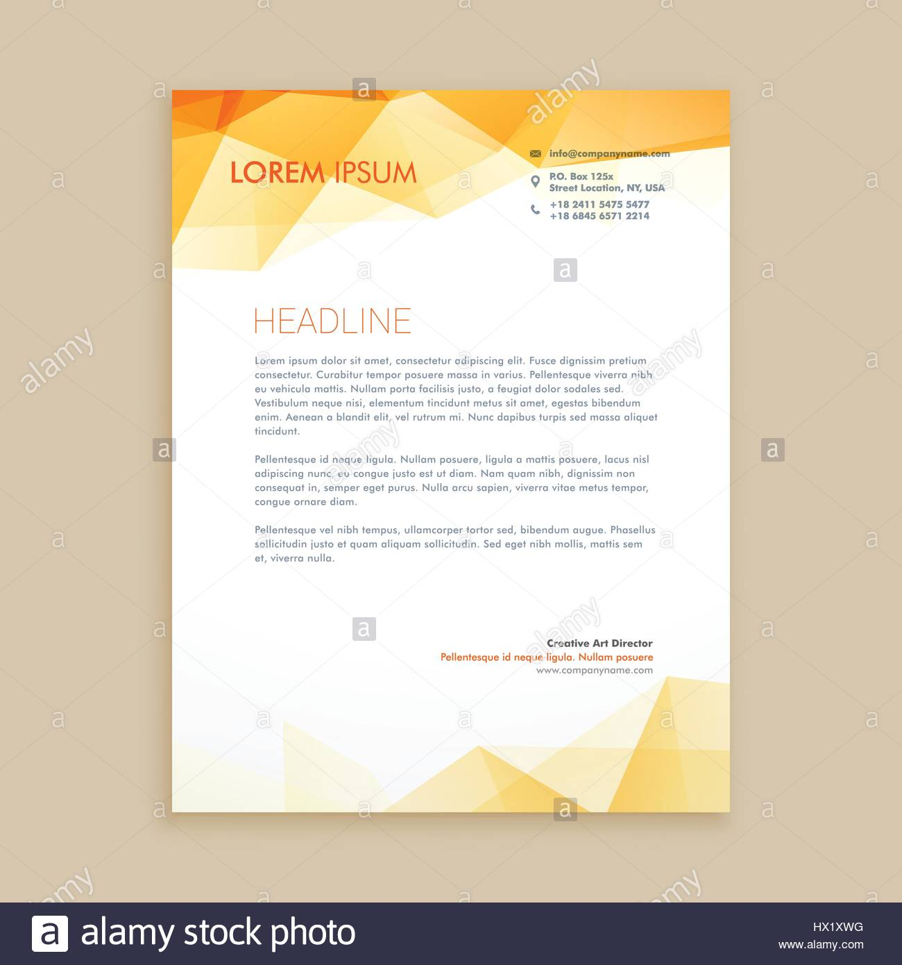 Yellow Low Poly Business Letterhead Template Vector Design Stock