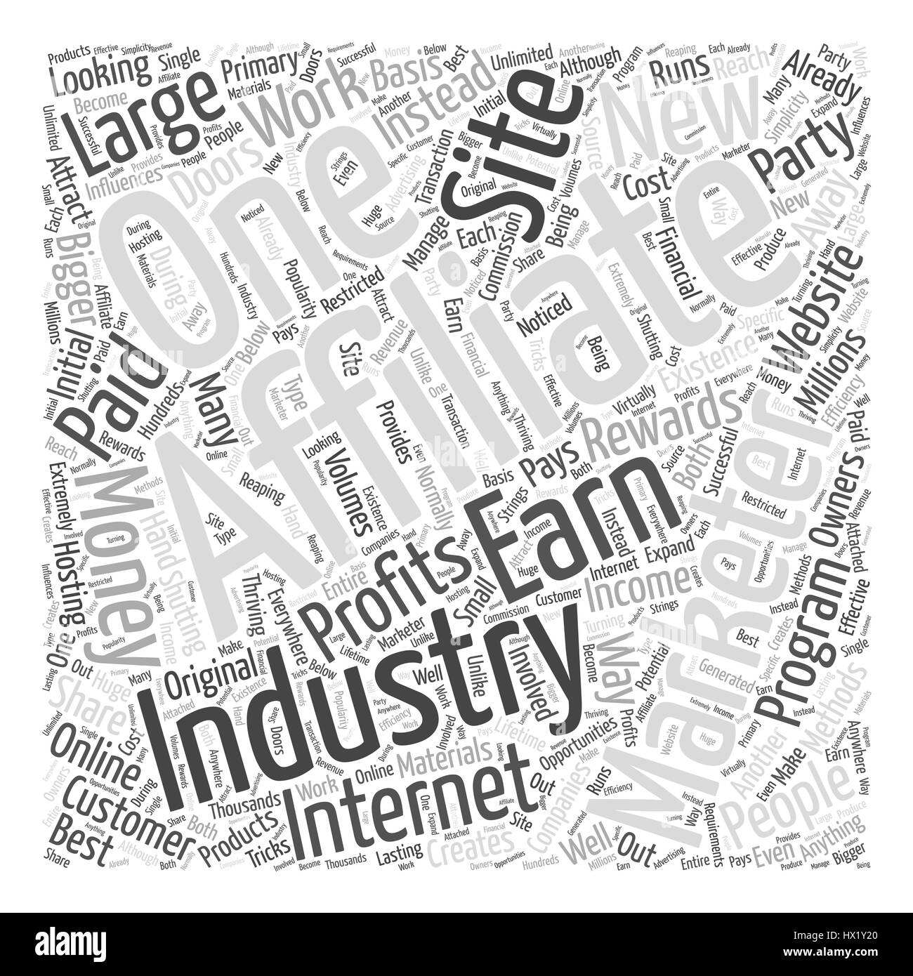 Affiliate Marketing Internet Industry Word Cloud Concept - Stock Image
