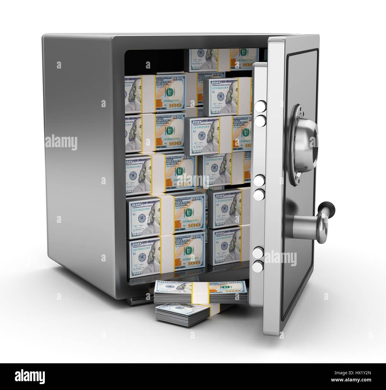 3d illustration of steel safe full of money - Stock Image