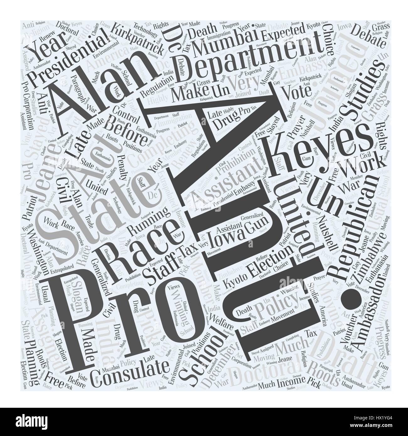 Alan Keyes Republican Word Cloud Concept - Stock Vector