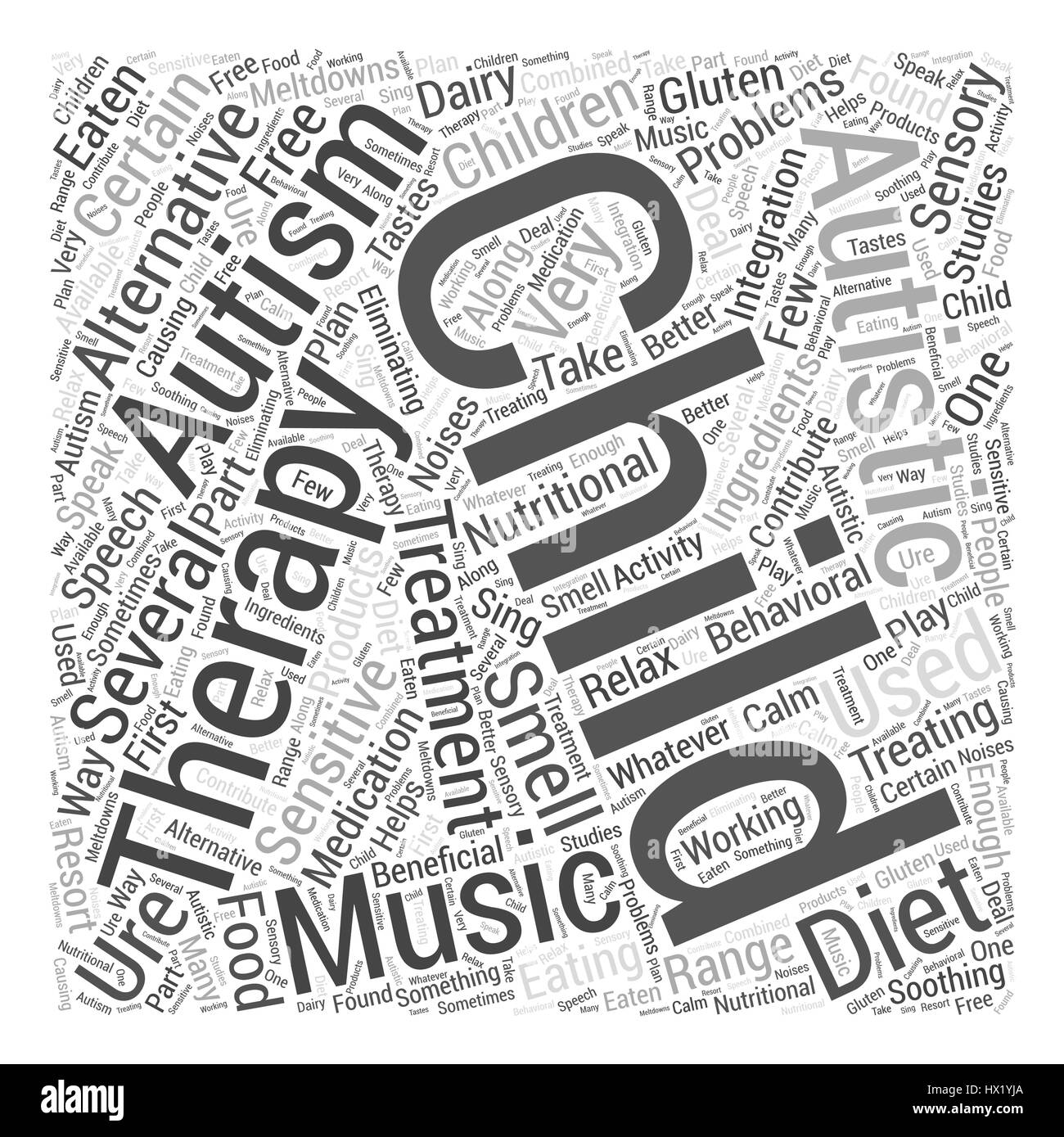 Alternative Treatments for Autism Word Cloud Concept - Stock Vector