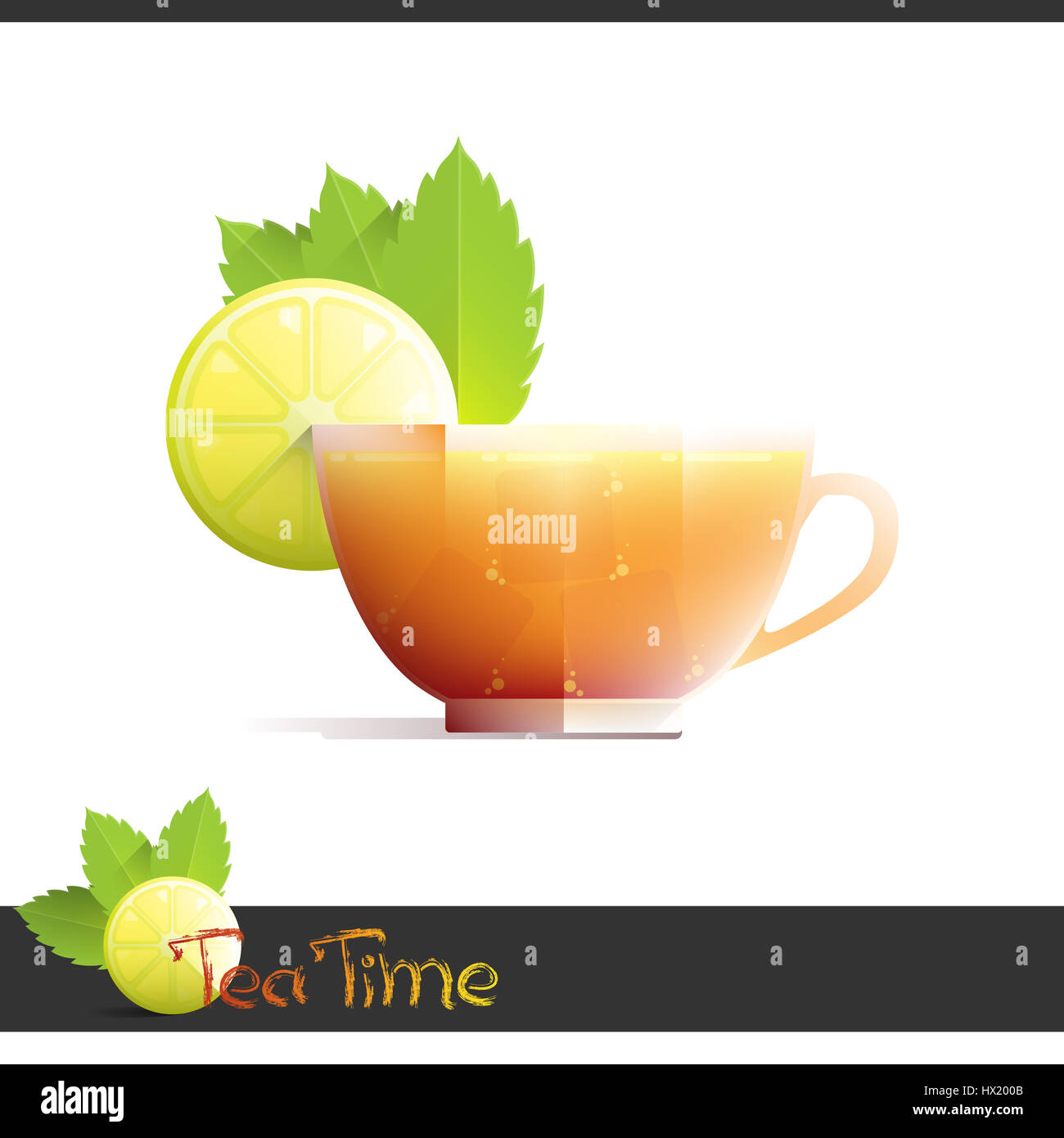 cup of iced tea with lemon slice on white background stock photo