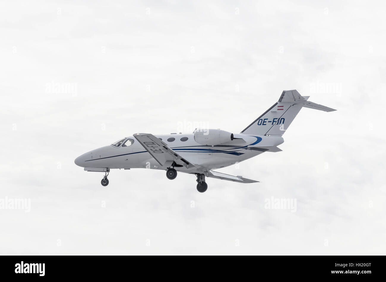 Business jet Cessna 510 Citation Mustang, of Globe Air charter airline, is landing on Madrid - Barajas, Adolfo Suarez - Stock Image