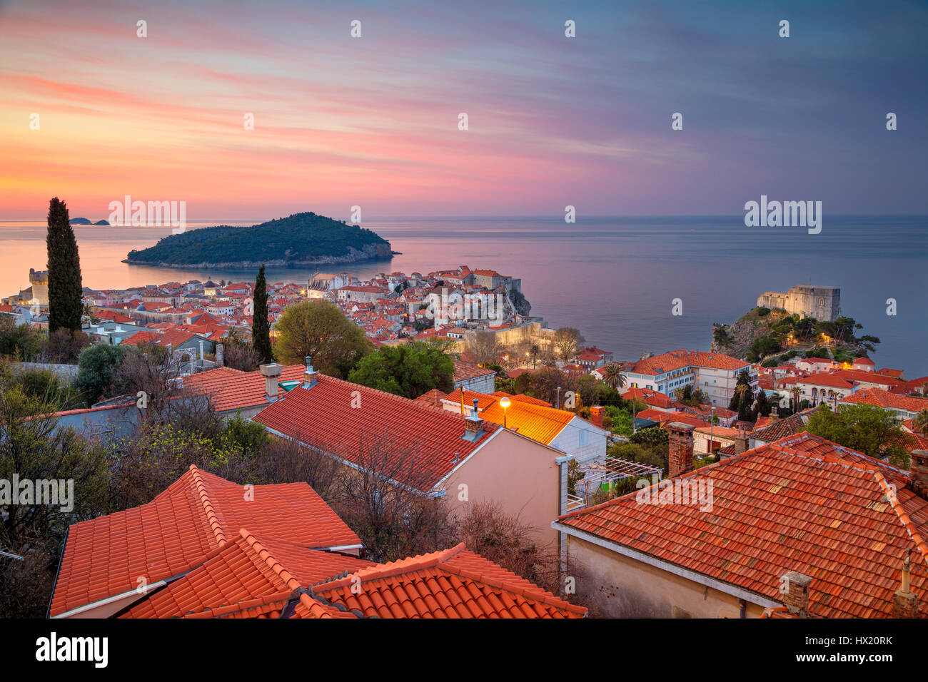 Dubrovnik, Croatia. Beautiful romantic old town of Dubrovnik during sunrise. - Stock Image
