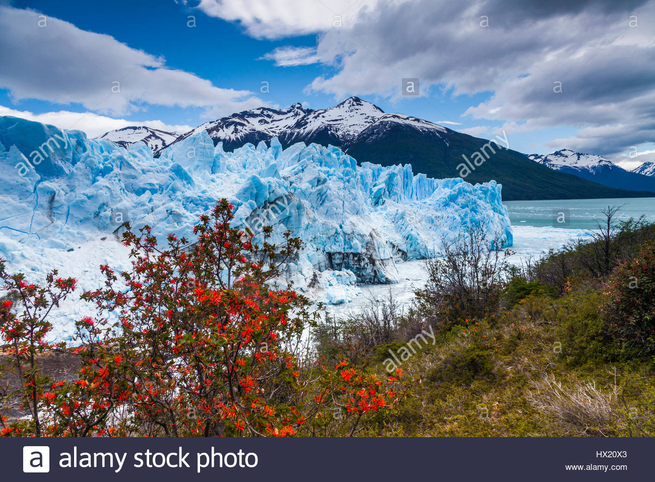 Amazing landscape with blue ice and mountains. Perito Moreno Gla - Stock Image