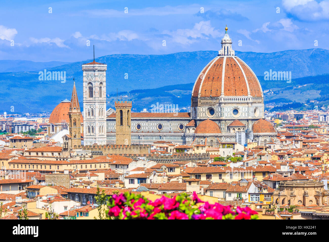 Florence, Italy. View of the old town from Piazzale Michelangelo. - Stock Image