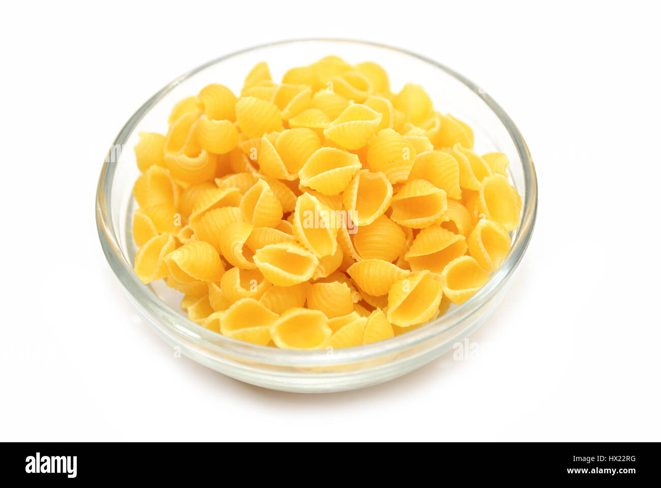 Bowl of Dried Shell Pasta - Stock Image